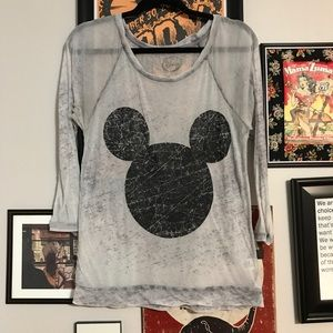 Disney Mickey Graphic Burnout Gray Shirt